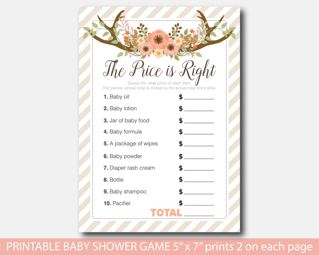 Floral the price is right baby shower game, Boho baby shower the price is right game, Flowers shower game, Instant download, BFL1-05