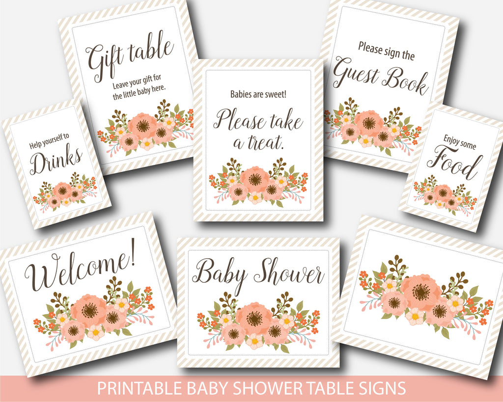 Floral table signs for baby shower, Boho flowers decor and table signs for girl baby shower, Instant download, BFL1-07