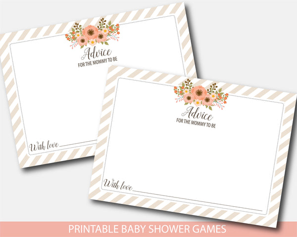 Floral advice for the mommy to be card and sign, Boho advice for mom baby shower game, Flowers baby shower, Instant download, BFL1-10