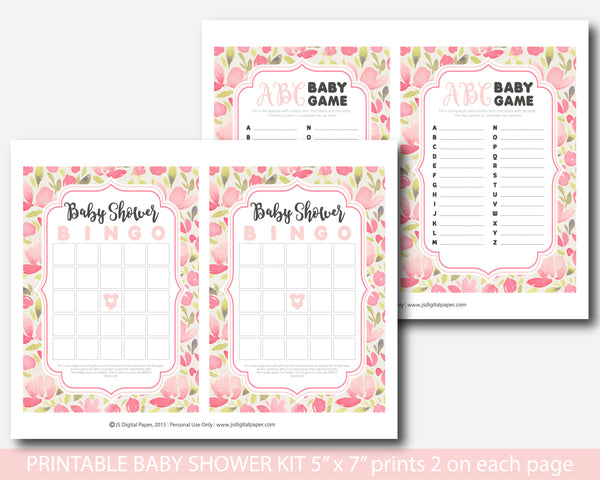 Pink watercolor baby shower activity game set with 5 games, BFL10-01
