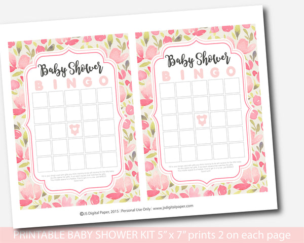 Pink floral baby shower watercolor games package, Watercolor flowers baby shower activity set, Printable floral game pack, BFL10-01
