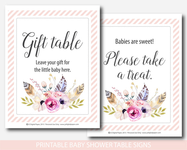 Floral bohemian watercolor baby shower table signs and decoration, BFL14-07