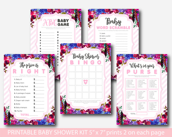 Purple and dark pink floral watercolor baby shower games package, BFL15