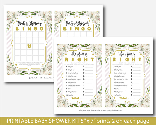 Rustic white floral watercolor baby shower games kit, BFL17
