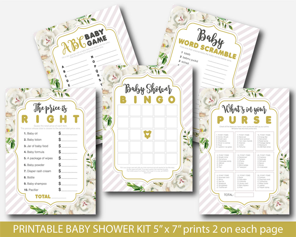 Boho white floral watercolor baby shower games set with stripes, BFL18
