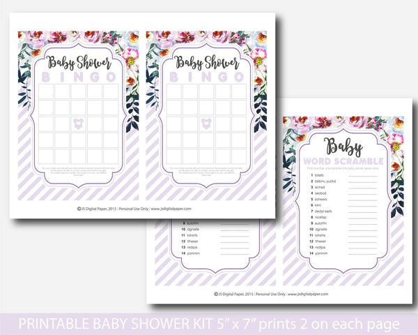 Purple floral watercolour baby shower game kit, BFL29