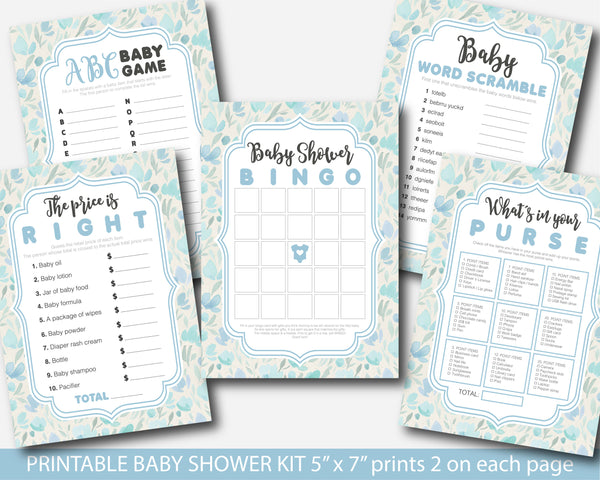 Blue floral watercolor baby shower activity games package, BFL3-01