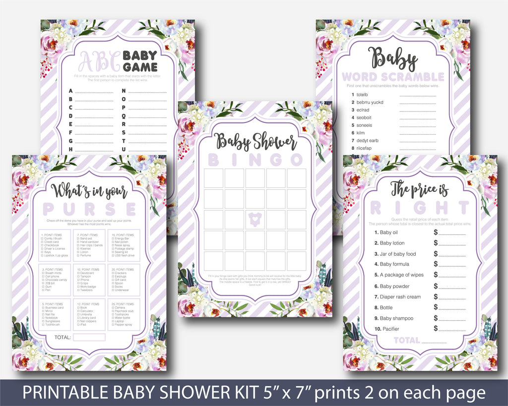 Purple striped floral watercolour baby shower game set, BFL30