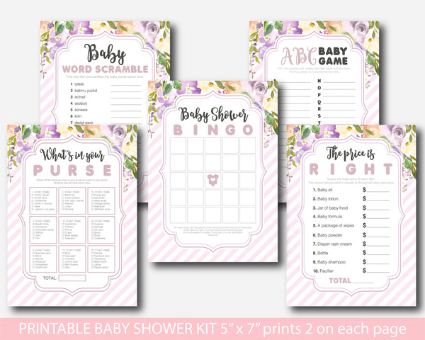 Purple and pink floral watercolour baby shower game set, BFL31