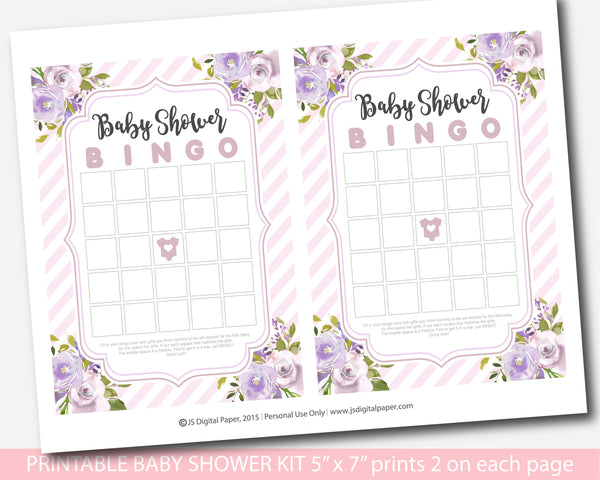 Purple floral watercolour baby shower game kit with baby pink stripes, BFL32