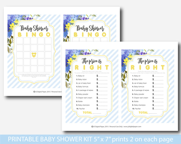 Blue and purple floral watercolour baby shower game set, BFL35