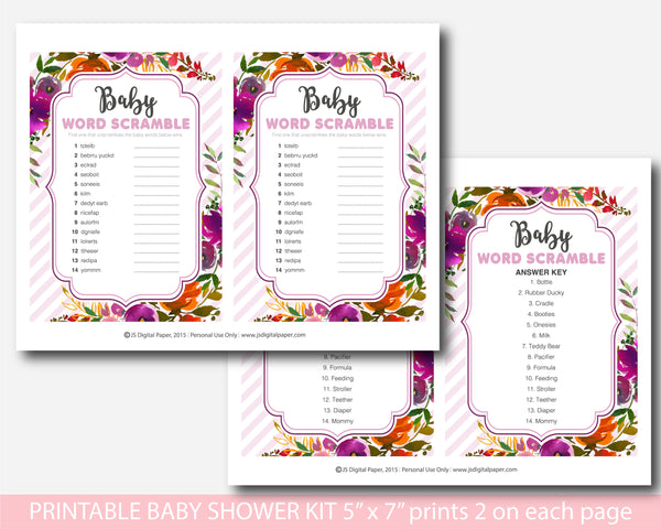 Orange and purple watercolour baby shower game kit, BFL38
