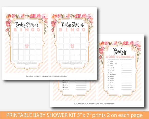 Sommer floral baby shower watercolour game set, BFL42