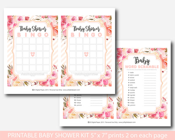 Coral and pink floral baby shower watercolour game set, BFL43