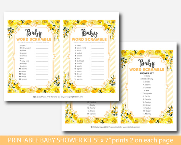 Yellow baby shower watercolour game set with flowers, BFL49