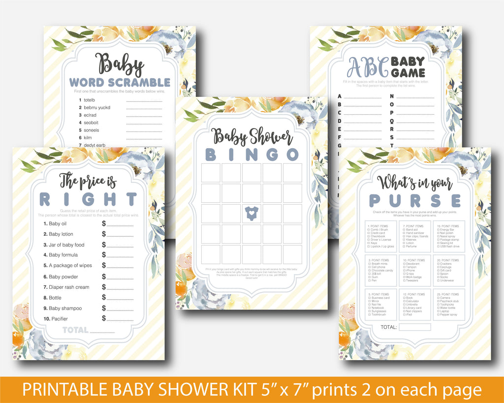 Watercolour baby shower game set with flowers in blue and light yellow, BFL52