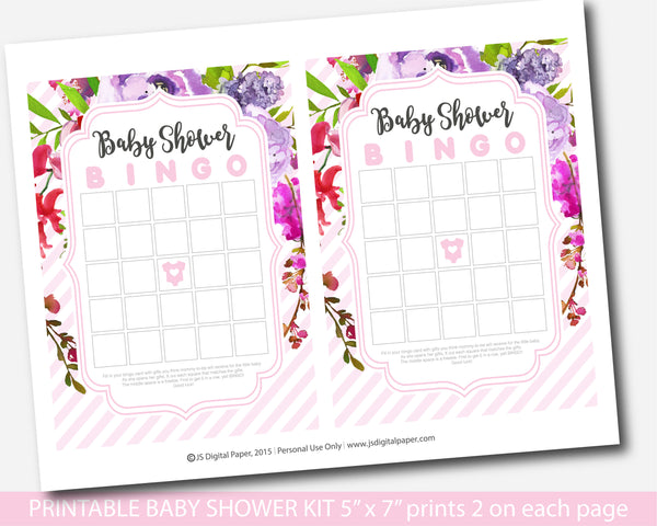 Hot pink and purple floral watercolor baby shower game set with 5 games, BFL54