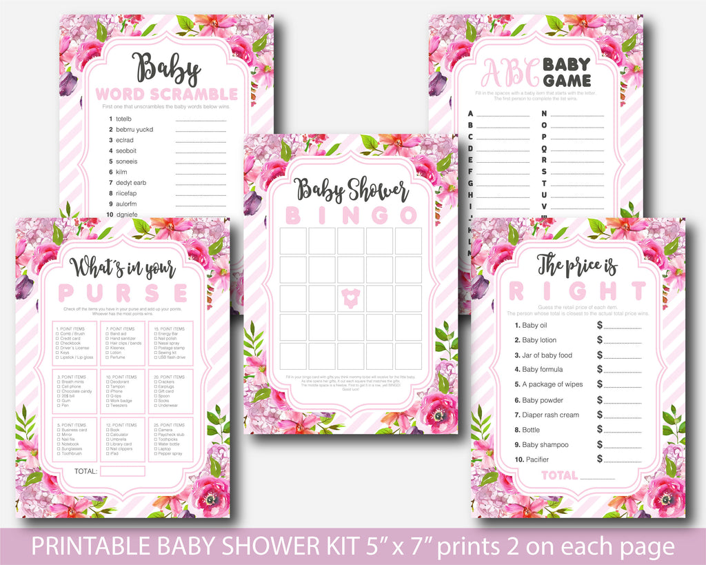 Baby pink striped floral watercolor baby shower game kit, BFL56