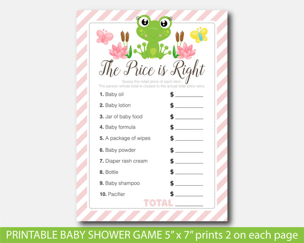 Frog the price is right game, Frog baby shower themed party, BFR1-05