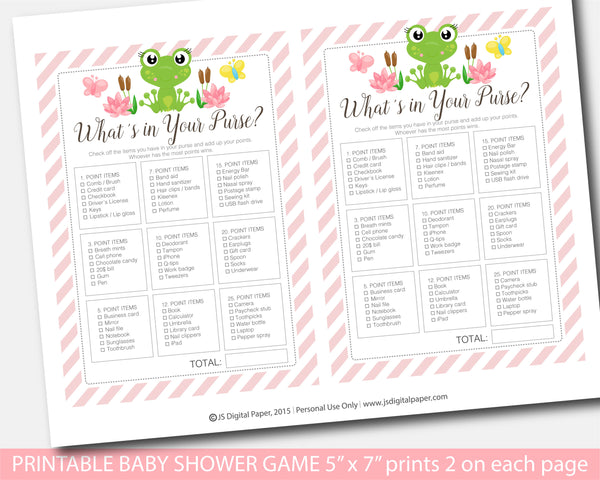 Frog what´s in your purse baby shower game, BFR1-06