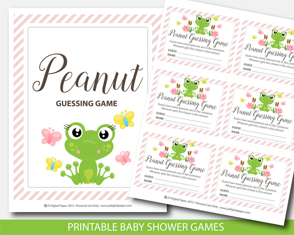 ... Frog Peanut Mu0026Ms Baby Shower Guessing Game, Frog Candy Guessing Game,  Jelly Bean Game