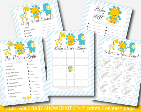 Giraffe baby shower games package, Elephant baby shower game kit, Lion baby shower game set, Instant download, BGR1-01