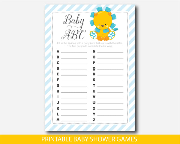 Lion ABC baby shower game, Safari ABCs baby game, Jungle baby shower ABC game, Instant download, BGR1-04