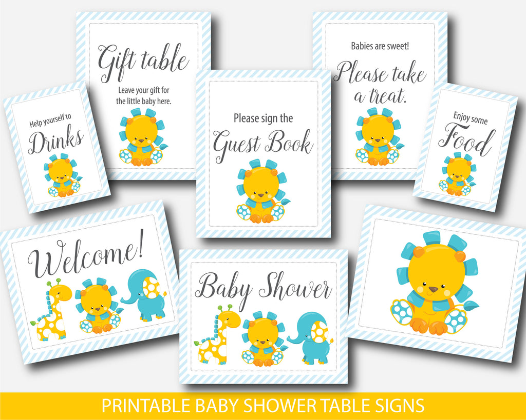 Lion table signs for baby shower, Elephant and giraffe decor table signs for boy baby shower, Instant download, BGR1-07