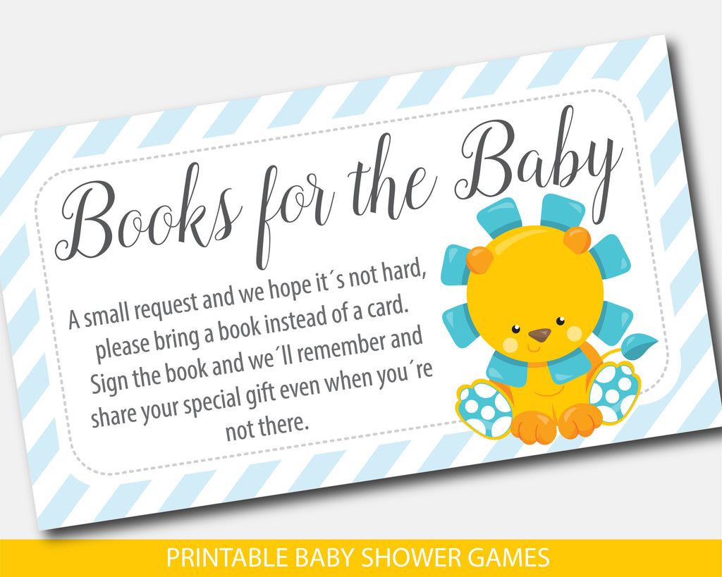Lion bring a book instead of a card inserts, Safari baby shower books for the baby cards in yellow and blue, Lion zoo book request, BGR1-09