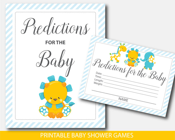 Lion baby shower predictions, Giraffe predictions for the baby with cards and sign, Zoo prediction cards, Instant download, BGR1-15