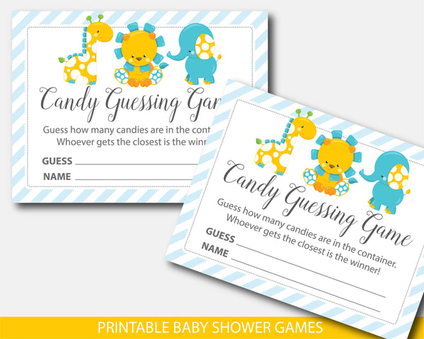 Giraffe baby shower candy guessing game, Lion peanut guessing game, Safari jelly bean game, Instant download, BGR1-16