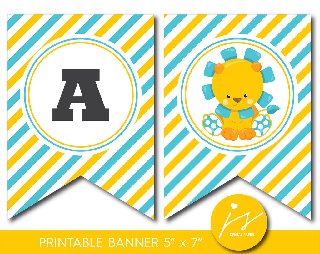 Lion baby shower and birthday bunting banner, Safari theme party, BGR1-19