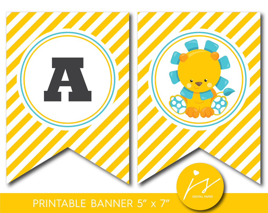 Safari lion banner, Baby shower and birthday safari bunting banner, Zoo lion theme party, BGR1-20