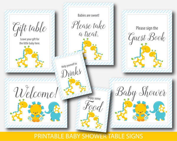 Giraffe table signs for baby shower, Elephant and lion decor table signs for boy baby shower, BGR2-07