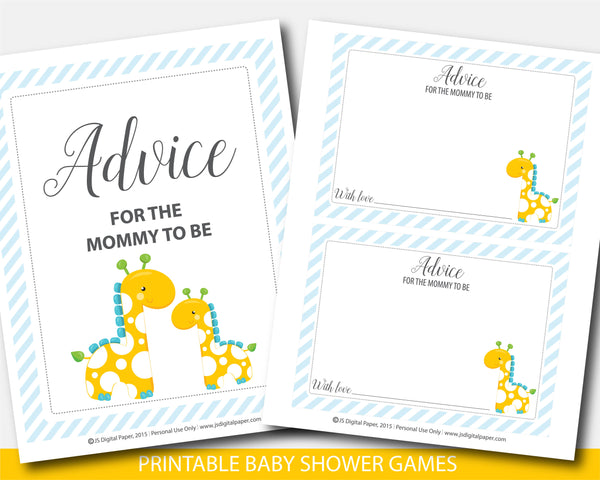 Giraffe advice for the mommy to be card and sign, Safari advice for mom baby shower game, Zoo baby shower, BGR2-10