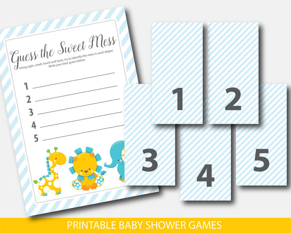 Giraffe dirty diapers baby shower game, Safari guess the sweet mess game, Zoo diaper game card & sign, BGR2-11