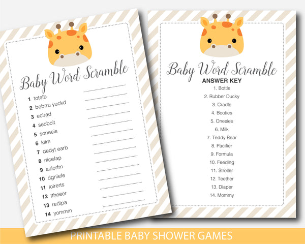 Giraffe baby shower word scramble game, BGR3-03