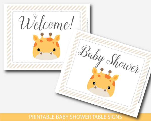 Giraffe baby shower table signs and decorations, BGR3-07