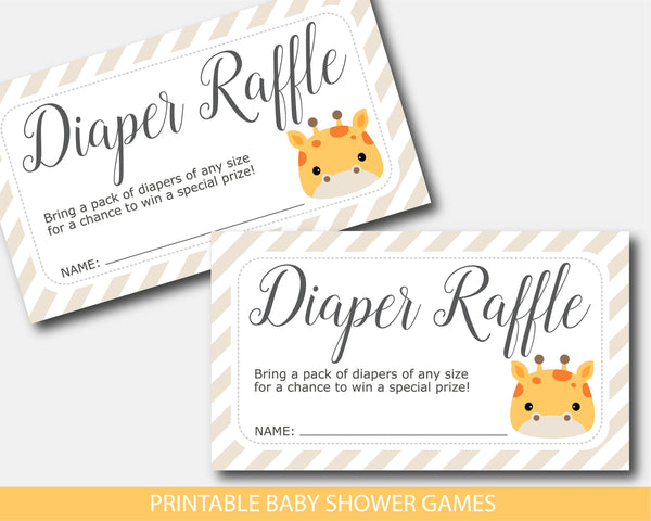 Giraffe baby shower diaper raffle with cards and sign, BGR3-08