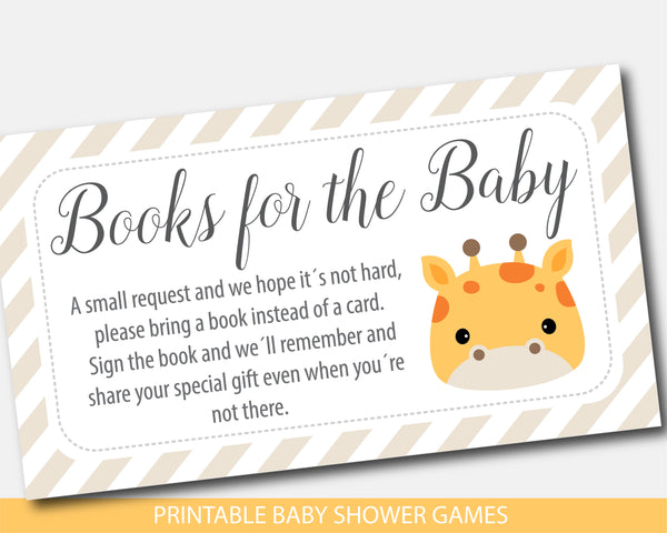 Giraffe baby shower books for the baby invitation inserts, BGR3-09