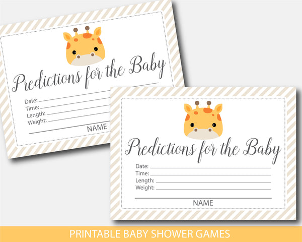 Giraffe baby shower predictions for the baby with cards and sign, BGR3-15