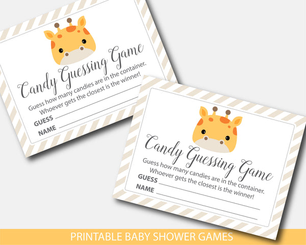 Giraffe baby shower candy guessing game, BGR3-16