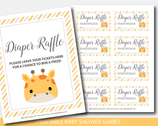Baby shower diaper raffle with cards and sign in giraffe design, BGR4-08