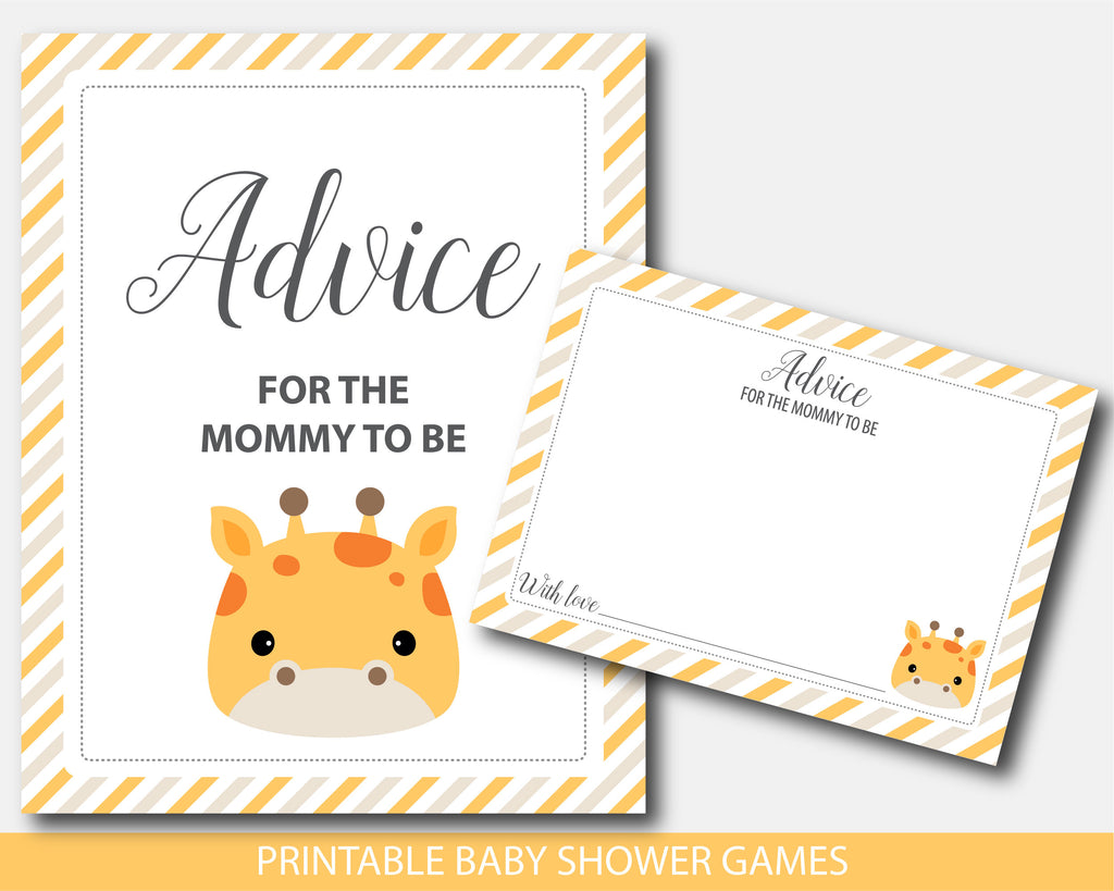 Baby shower advice for the mommy to be cards and sign in giraffe design, BGR4-10