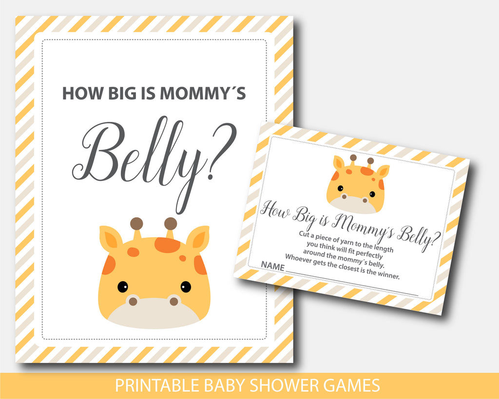 Baby shower how big is mommy´s belly game with cute giraffe design, BGR4-12