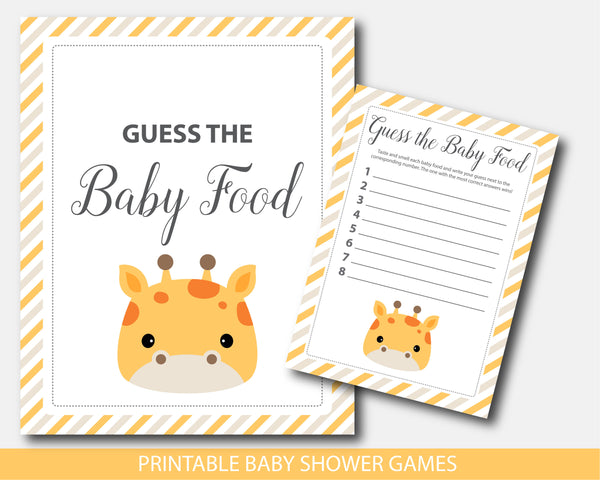 Guess the baby shower food game with cute giraffe, BGR4-13