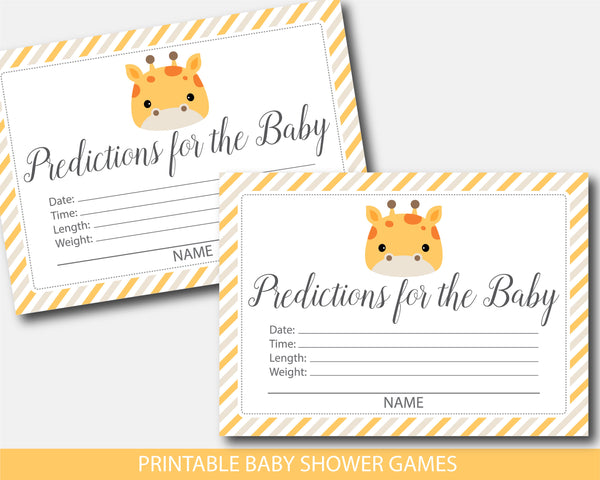 Giraffe baby shower predictions for the baby, BGR4-15