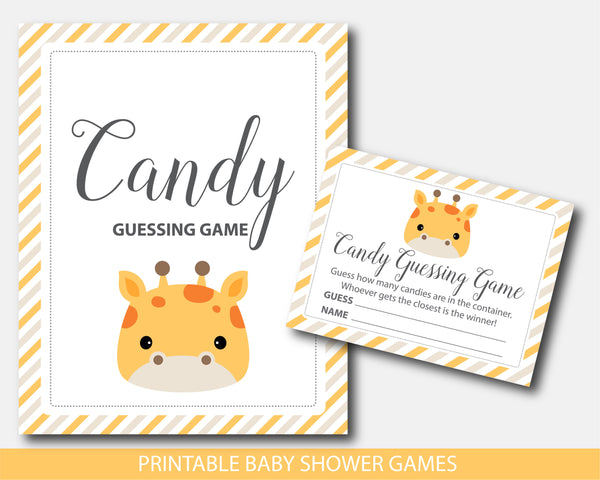 Baby shower candy guessing game with cute giraffe, BGR4-16