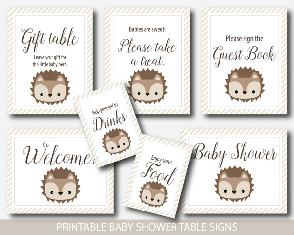 Hedgehog baby shower table signs, Gift table signs, Take a treat sign, Sign the guestbook, BH6-07