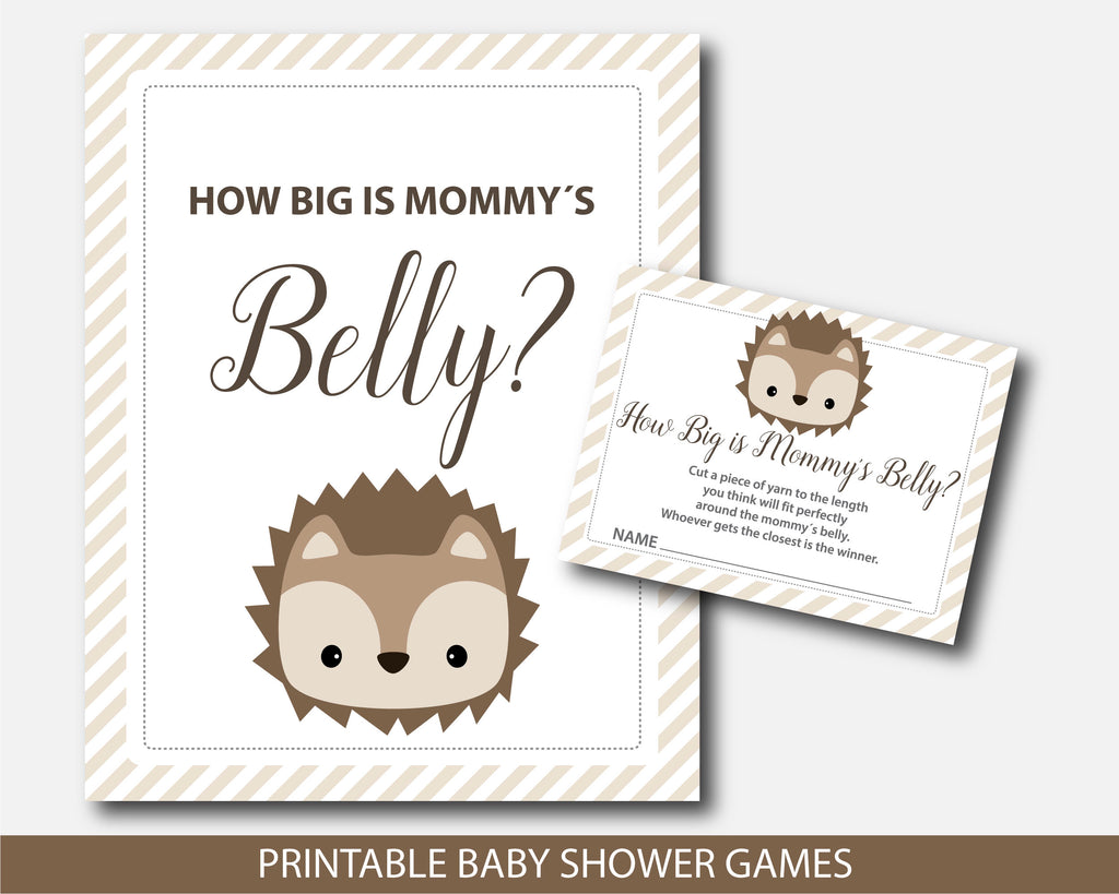 Hedgehog baby shower belly game with cards and table sign, Belly guessing game, Moms belly game, BH6-12